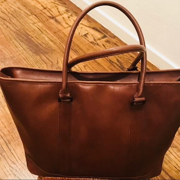 Stupendous Ll Bean Leather Zipper Top Carry All Tote Inzonedesignstudio Interior Chair Design Inzonedesignstudiocom